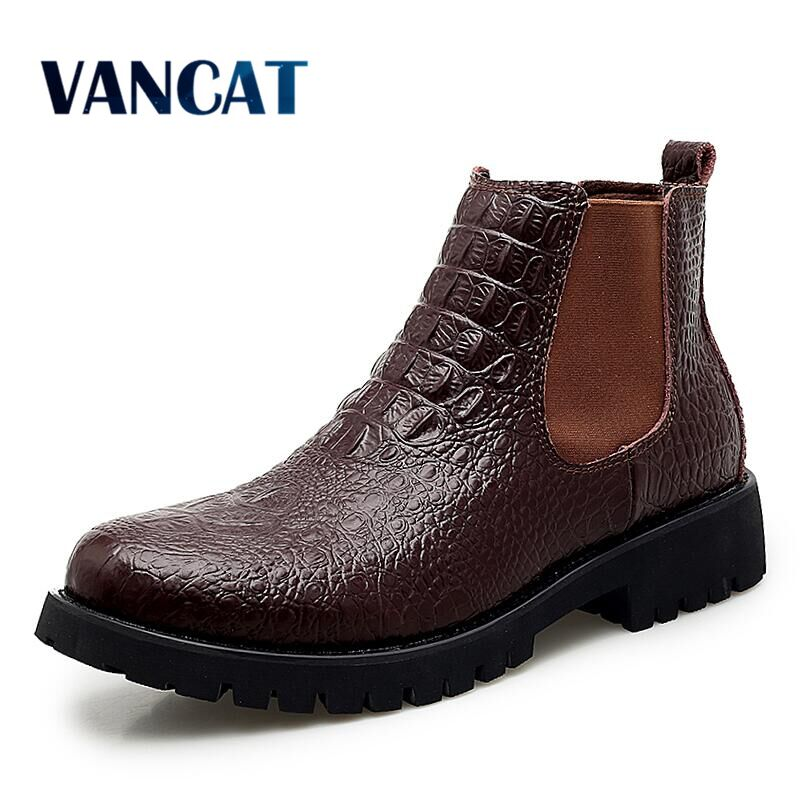 New Winter Men Chelsea Boots High Quality Leather Men's Boots Fashion Casual Ankle Boots Fur Warm Snow Boots Motorcycle Boot