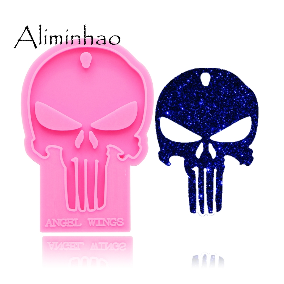 Silicone Resin Craft Molds Halloween Skull DIY Key Ring Epoxy Keychains Jewelry