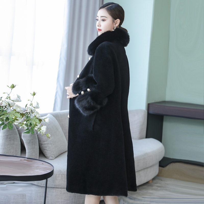 Fox Fur Collar Winter Jacket Real Fur Coat Women Korean 100% Wool Fur Coats and Jackets Women Long Elegant 098 KJ3614 image