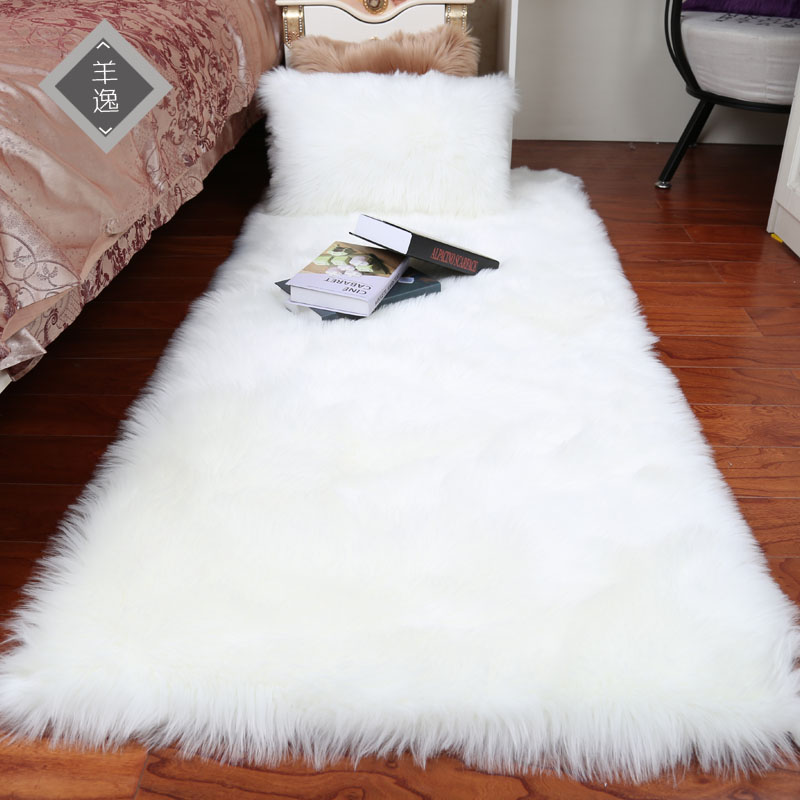 Plush Soft European Bedroom Carpet Imitation Wool Pad Long Hair Bedside Bay Window Cushion Sofa Cushion White Red Window Carpet