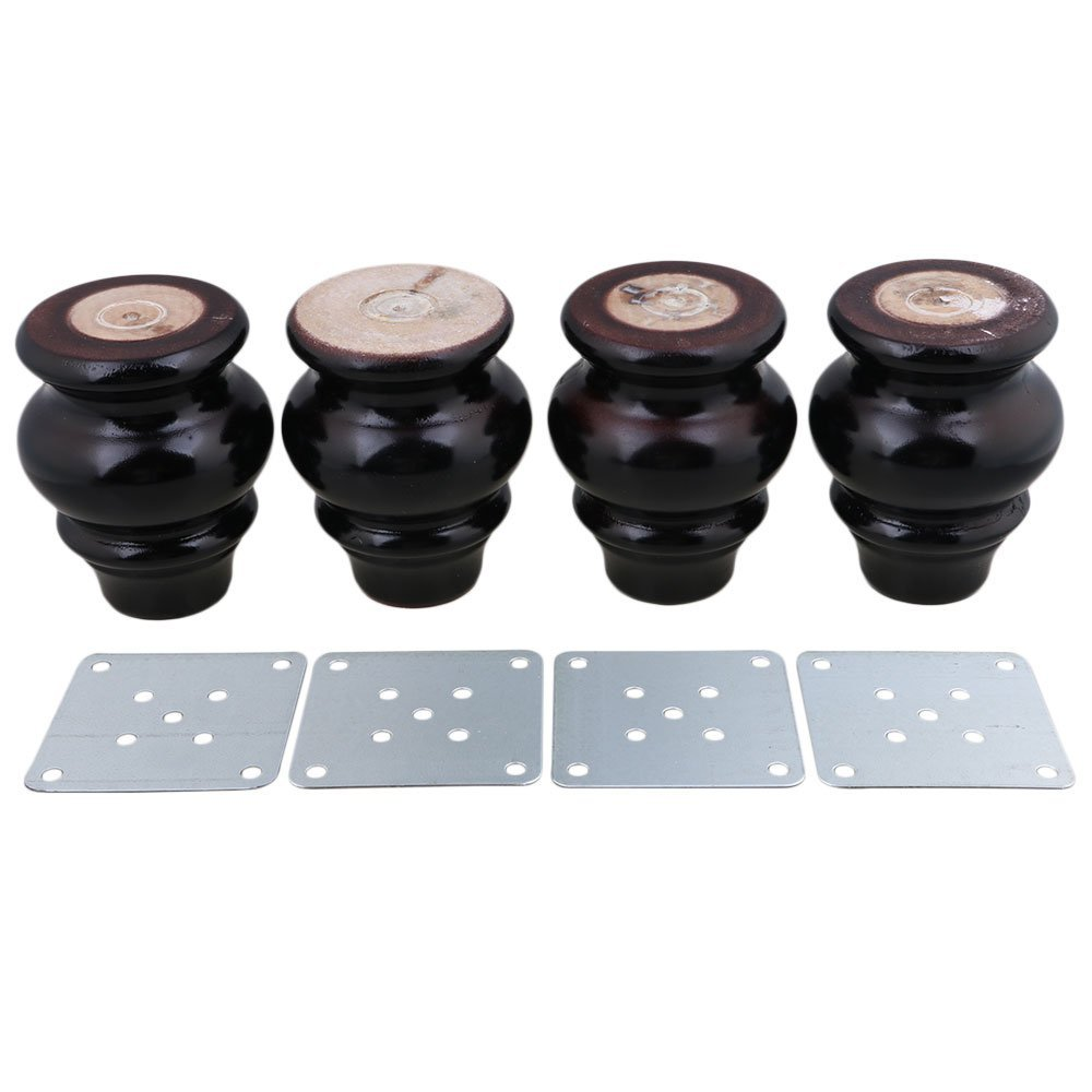 4PCS Natural Wood Black Furniture Legs Eucalyptus Table Legs Cabinet Feet Iron Plates 90x65x37mm