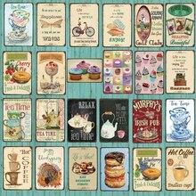 【YZFQ 】 té, cartel de cocina, signo hacer pastel señal Metal lata Vintage placa Pub restaurante decoración de Arte de Casa DU-4814A
