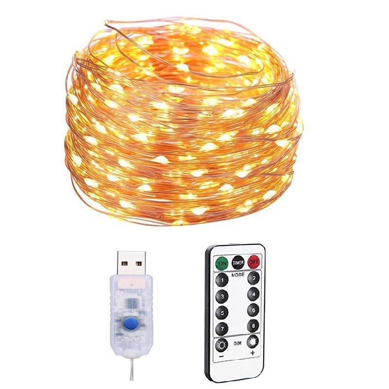 USB Remote Control LED Light String 30M 20M 10M 5M Copper Wire Lighting Holiday Decoration Lights Christmas Wedding New Year