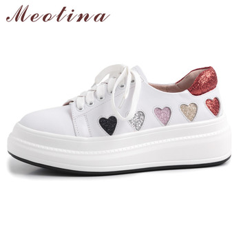 Meotina Cow Leather Flats Shoes Women Glitter Lace Up Flat Platform Shoes Genuine Leather Round Toe Casual Shoes Lady Size 34-40