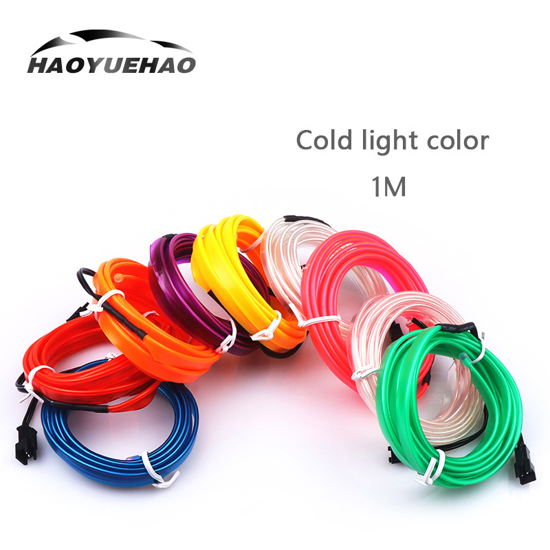 Haoyuehao LED Car Light 1M 1 Cold Light Separate Line 10 Color Illuminate Car Accessories DC 12V Car Atmosphere Lamp Cold Light