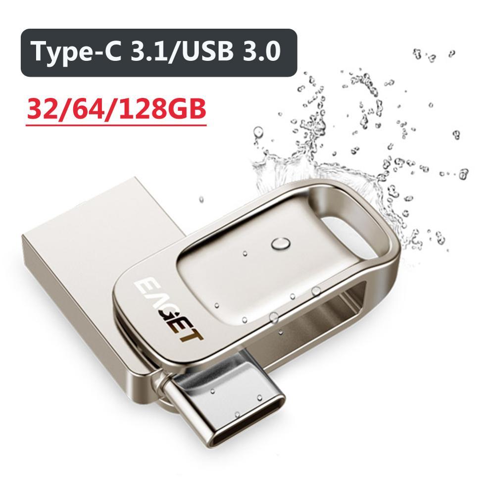 EAGET CU31 32 64 128G Portable Metal USB 3 0 Flash Drive Memory Storage Stick Mini U Disk Computer Phone OTG Type C Pen Drive
