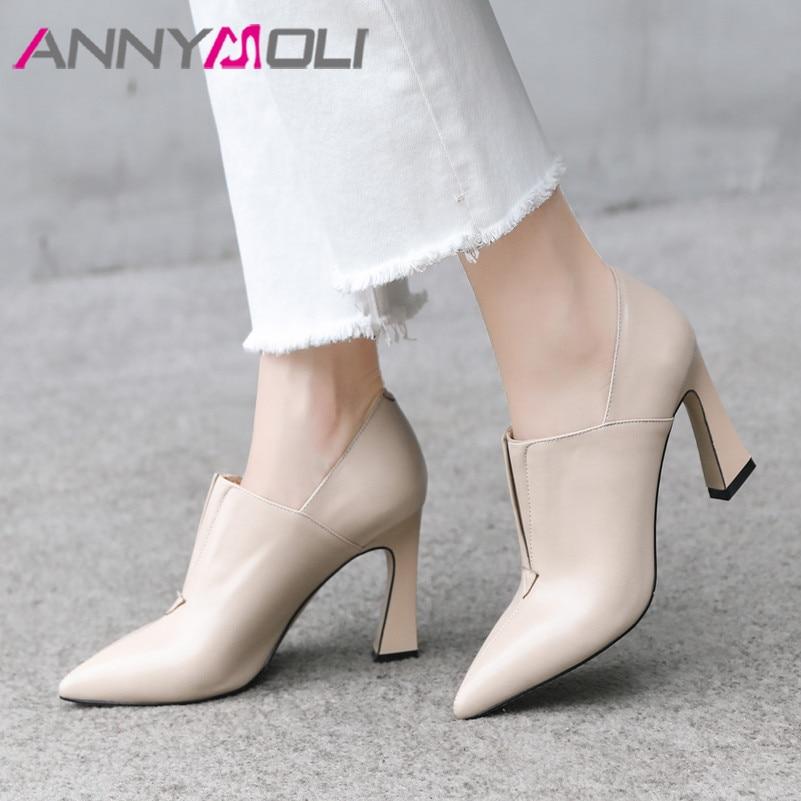 ANNYMOLI Women Shoes High Heels Natural Genuine Leather Thick High Heels Shoes Real Leather Pointed Toe Pumps Ladies Size 34-39