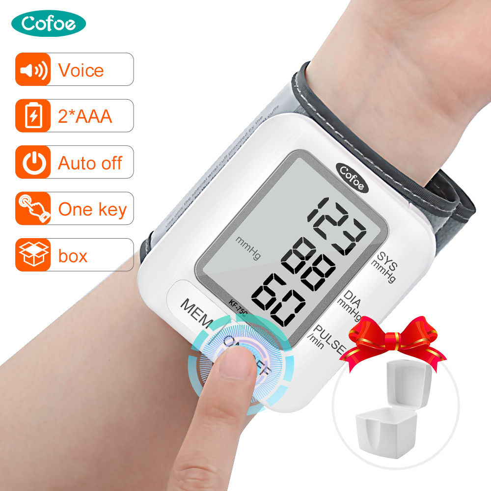 Cofoe Automatic Digital Wrist Blood Pressure Monitor Medical Voice Broadcast Tonometer LCD Digital Household Sphygmomanometer