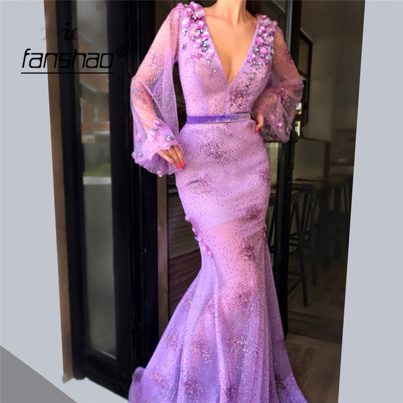 Lilac Muslim Long Evening Dresses Puff Sleeve Deep-V Mermaid Lace Bead Dubai Prom Dress Formal Dress Evening Party Gown