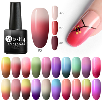 Mtssii 7ml Thermal Glitter Soak Off UV Gel Polish Holographic Temperature Color-changing Varnish Gel Nail Art Lacquer Decor