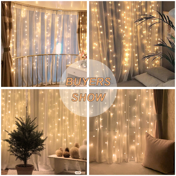 Curtain Lights Indoor Waterfall Fairy String Usb 3x2m Led Bedroom Lights Decoration for Wedding Christmas Party Holiday New Year 2