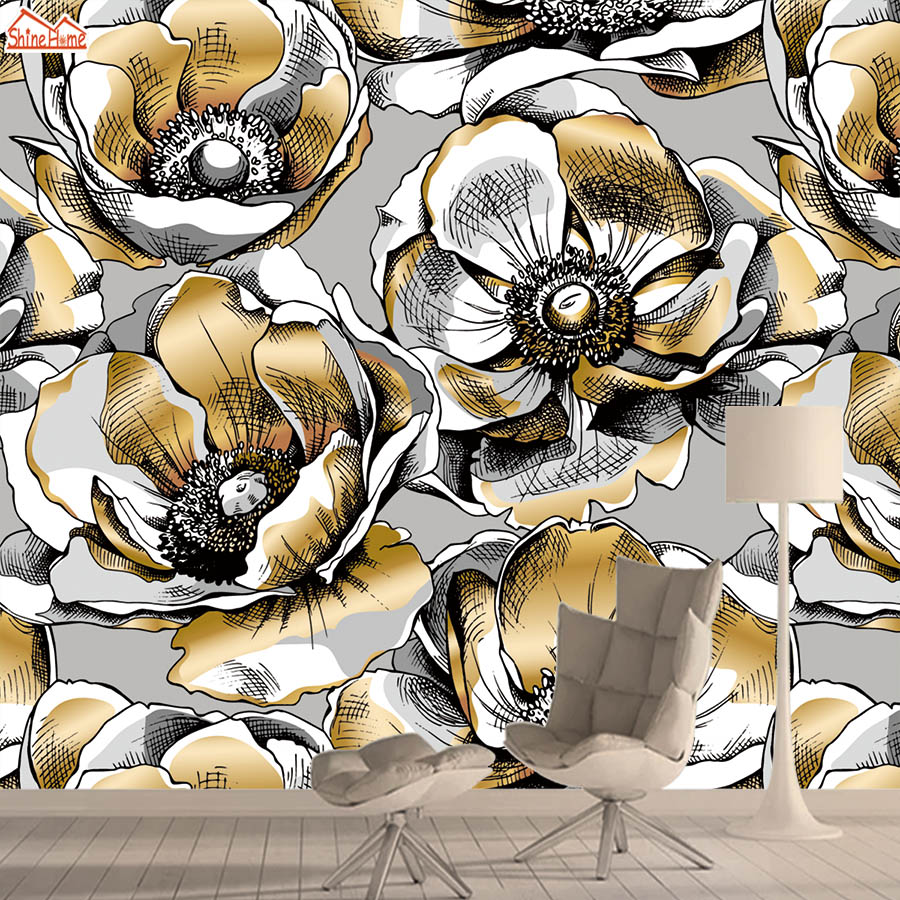 Gold Rose Silk 3d Wallpaper Mural Wallpapers For Living Room Wall Paper Papers Home Decor Floral Self Adhesive Walls Murals Roll