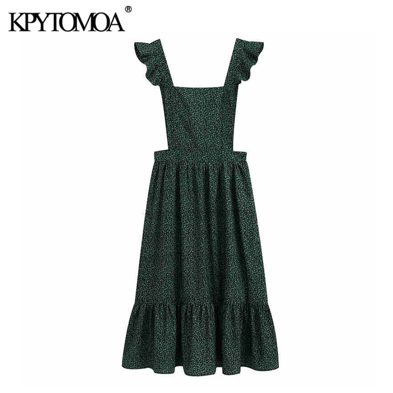 KPYTOMOA Women 2020 Elegant Fashion Floral Print Suspender Midi Dress Vintage Square Collar Ruffled Strap Female Dresses Vestido