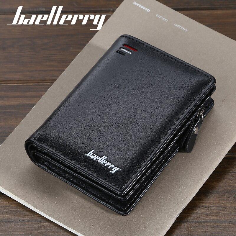 Baellerry 짧은 남자 지갑 패션 새 카드 지갑 동전 주머니와 남성 지퍼 지갑에 대 한 다기능 오르간 가죽 지갑