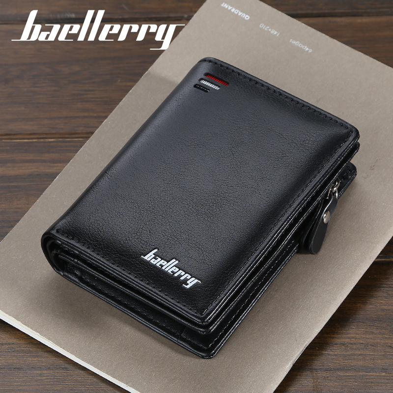 Baellerry Short Men Wallets Fashion New Card Holder Multifunction Organ Leather Purse For Male Zipper Wallet With Coin Pocket