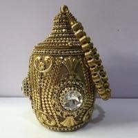 DOYUTIG Women's Antique Gold Color Indian Metal Bag Short Handle Strap Diamond Wedding Clutch Lady Retro Crystal Dinner Bag F733