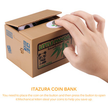 เงินแมว Piggy Bank หมีแพนด้าขโมยเหรียญกล่องเงินเหรียญอัตโนมัติ Piggy Bank กล่องเก็บเงินของขวัญเด็กวันเกิด