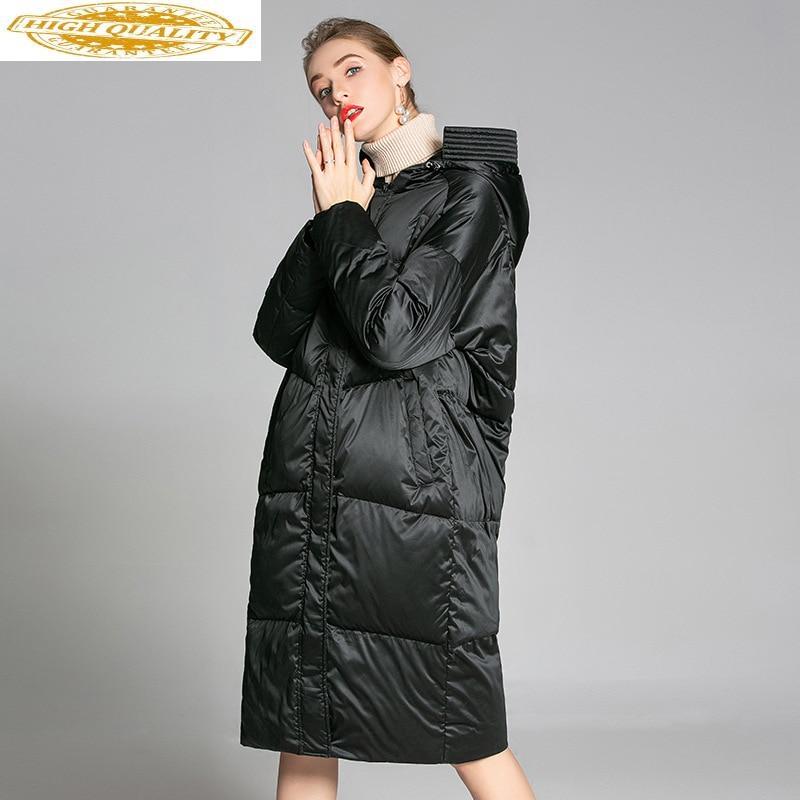 2020 Women's Down Jacket Winter Long 90% White Duck Down Coat Hooded Warm Puffer Womens Jackets Parka Pluma Mujer 9003 J2793