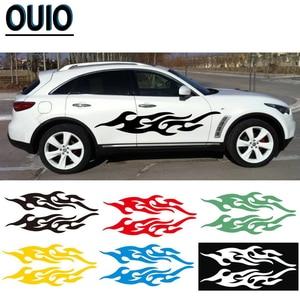 Image 1 - 4 pièces 19/29/58cm feu motif voiture autocollants réfléchissants bricolage style décalcomanies moto Auto carrosserie autocollant noir blanc rouge jaune bleu