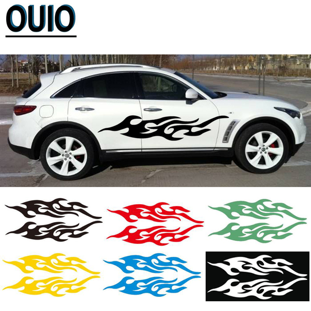 4PCS 19/29/58cm Fire Pattern Car Reflective Stickers DIY Styling Decals Motorcycle Auto Body Sticker Black White Red Yellow Blue