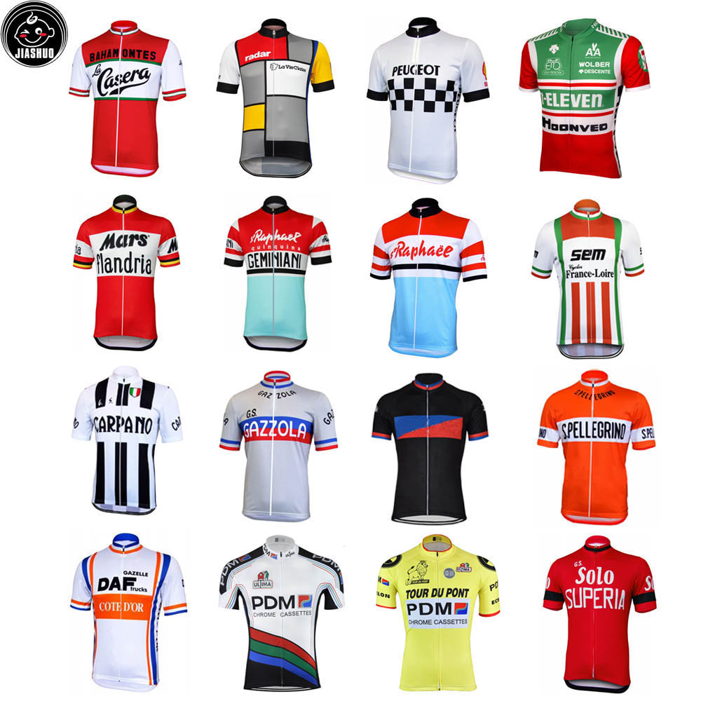 Classical Retro NEW Pro Mountain Road RACE Team Bike Cycling Jersey Tops Breathable Customized Jiashuo Multi Types