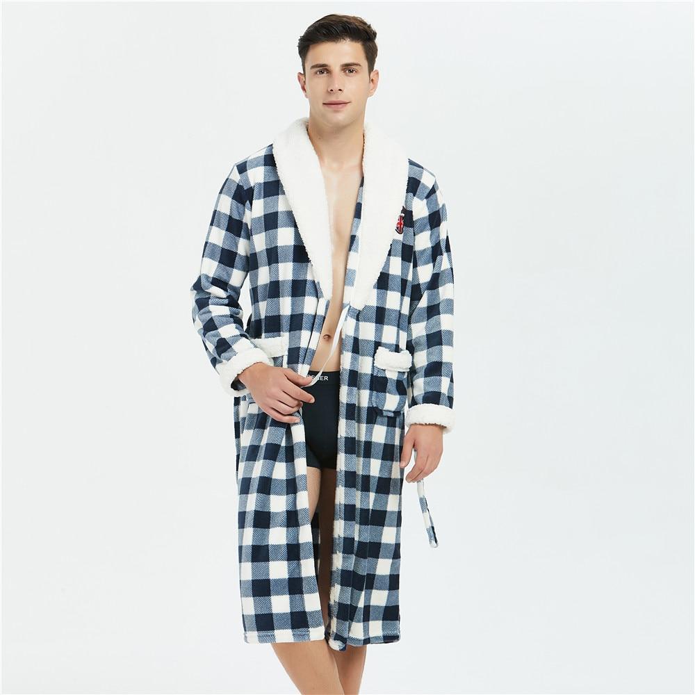 Plaid Flannel Men Sleepwear Sexy Kimono Bathrobe Gown Pocket Home Clothing Nightwear Winter Warm Coral Fleece Belt Pyjamas