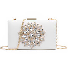Women'S Bag New Luxury Diamond Evening Dinner Bag Sweet Lady Shoulder Slung Chain Box Bag Tide(China)
