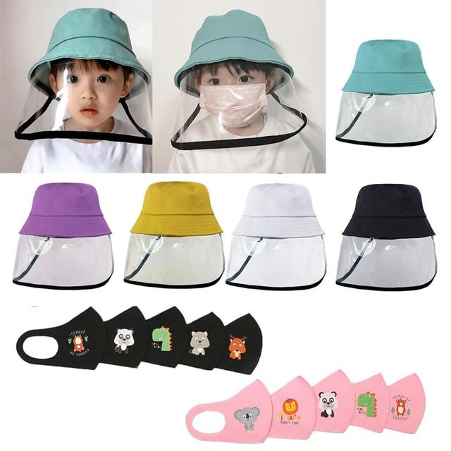 Kids Anti-spitting Clear Face Shield bucket hat  Protective Hat Cap Peaked Cover Safety Unisex Anti-saliva Face Cover Cap