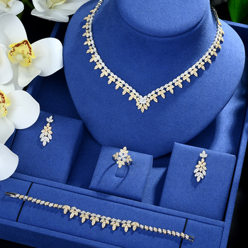 Be 8 4Pcs Brilliant AAA Cubic Zircon Necklace Earrings Ring and Bracelet Wedding Bridal Jewelry Sets Dress Accessories S499