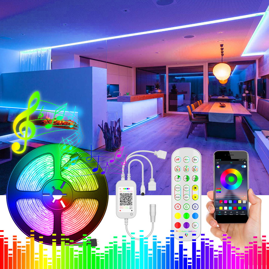 2835 SMD 5050 RGB LED Strip Light 5m 10M LED Lights String tape LED diode lamp flexible Bluetooth controller DC 12V adapter set