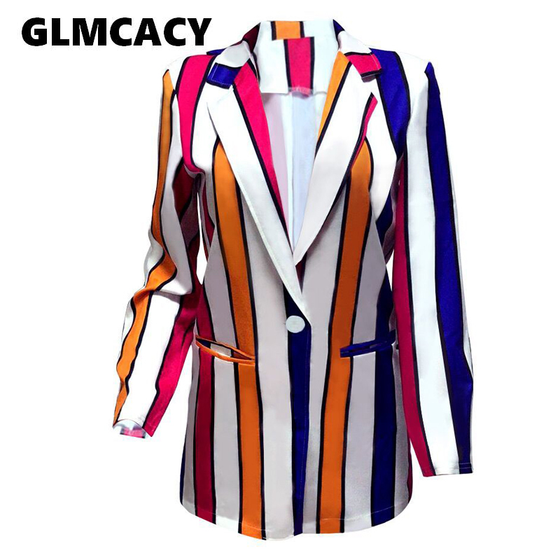 Women Striped Blazers Autumn Long Sleeve Ladies Jackets Elegant Work Tops Buttons Business Suits Sport Coats Streetwear