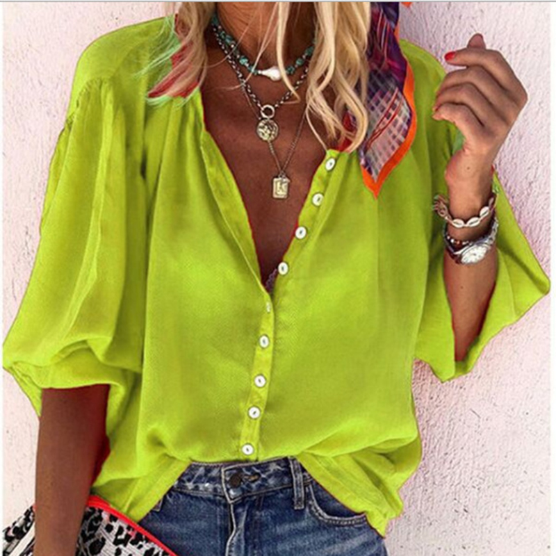 Female Casual Loose Belt Button New Shirt Large Size Women's Fashion Solid Color V-neck Half-sleeved Shirt For Ladies
