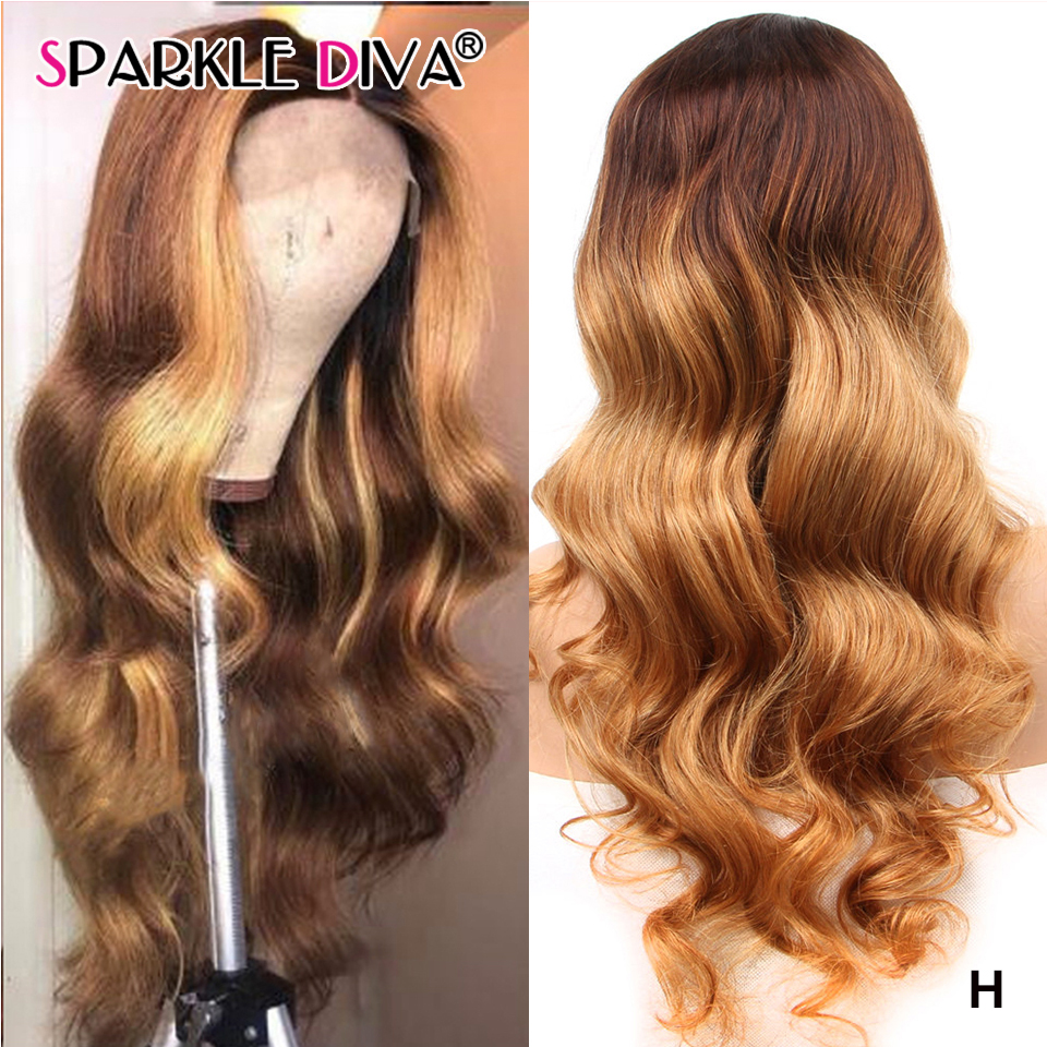 Brazilian Body Wave Lace Front Human Hair Wigs Ombre Blonde Highlight Lace Front Wig 13x4 Medium Rito Remy Lace Wigs Pre Plucked