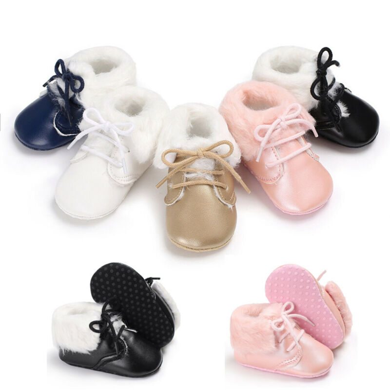 Baby Newborn Winter Warm Snow Boots Toddler Infant Soft Shoes Booties 0-18M Baby Girl Boy Anti-slip Leather Christening Shoes