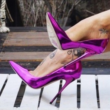 Glossy High Heel Pumps Woman Heel 12 CM Mirror Leather Pointed Toe Stiletto Shoes Shallow Female+shoes Party Club Wedding fashion silver mirror leather high heel shoes women pointed toe pom pom cute pumps party shoes woman