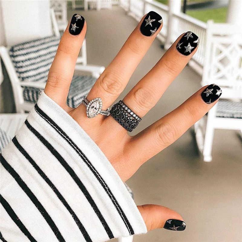Pegatinas para uñas 3D, deslizador de uñas, pegatinas de estrellas, purpurina, decoración, adhesivo de transferencia DIY, coloridas puntas para manicura