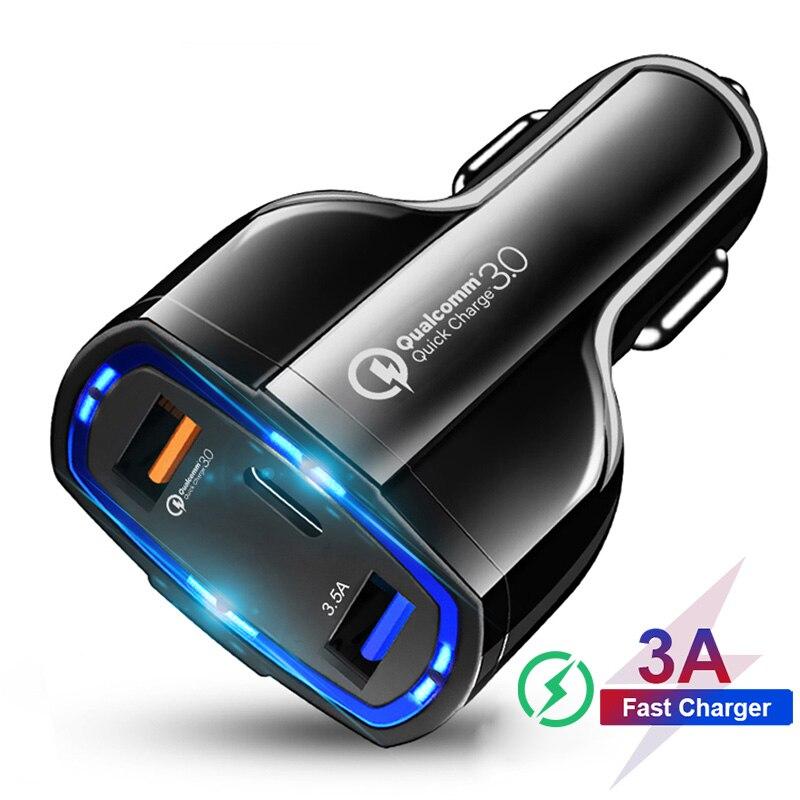 Универсальное автомобильное зарядное устройство с 3 портами USB Type-C, 7A, быстрая зарядка 3,0, автомобильное зарядное устройство USB для Samsung, Huawei, ...