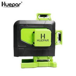 Huepar, 16 líneas 4D, línea de láser de línea transversal, línea de Rayo verde con batería de ion de litio para baldosas de suelo, multifunción y Control remoto