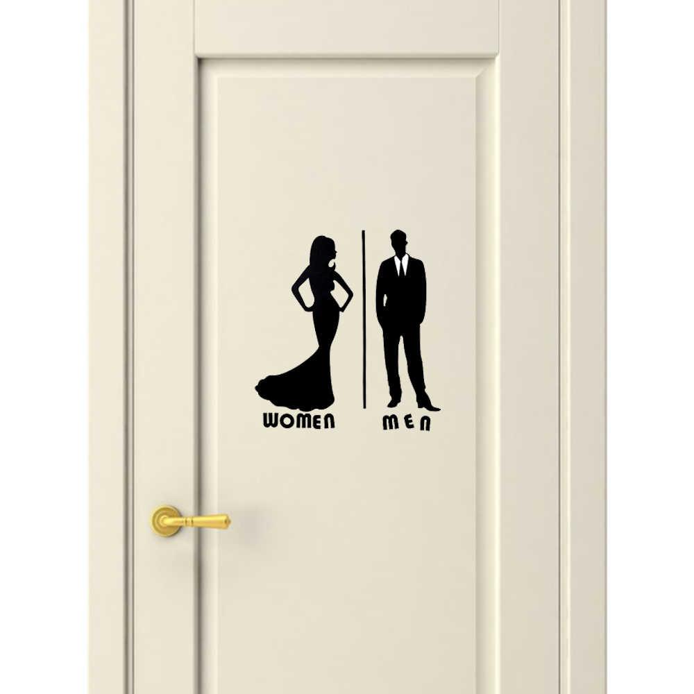 1 pc moda removível à prova dwaterproof água vinil poster wc decalques pvc preto adesivo de parede porta do banheiro decoração de casa arte