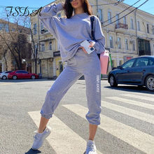 FSDA Women Autumn Tracksuit Long Sleeve Top And Pants Jogging Women Set Casual Gray Print Two Piece Sets Sport Sweatpants(China)
