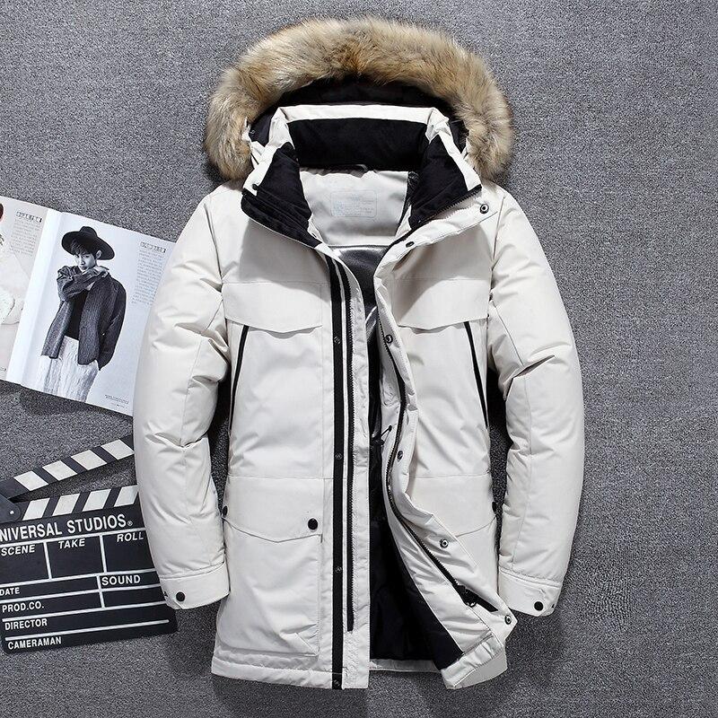 2020 Новинка 40 градусов высокое качество белая куртка на утином пуху Мужская Толстая зимняя теплая парка с большим меховым воротником водонепроницаемая ветрозащитная|Пуховики| | АлиЭкспресс