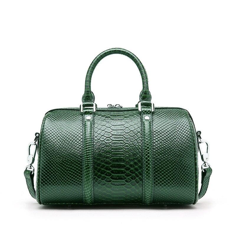 Crocodile Women Tote Handbag 100% Genuine Leather Boston Bag Fashion Lady Shoulder Bag Classic Black Crossbody Bags Green