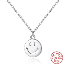 925 Sterling Silver Chain Collares Choker Cute Smile face Pendant Necklace for Women Fashion Jewelry Smiley Dangles Bijoux Gift stylish smiley face lace choker necklace