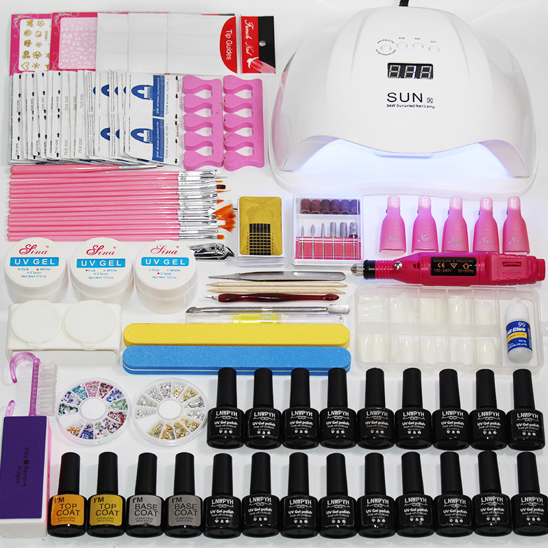 Nail Set Gel Nail Polish Kit UV LED Lamp Dryer 54W/48W/24W With 18/10 Pieces Nail Polish Set For Nail Art Manicure Tools Kit