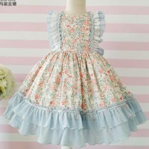 Детское испанское платье для девочек, детское платье принцессы Лолиты с цветочным принтом, вечерние бальные платья с принтом для дня рожден...
