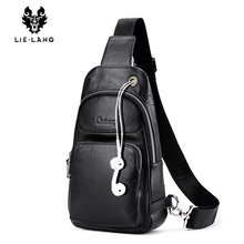 LIELANG Chest Bag men Leather Men Shoulder Bag Casual Brown Men Bag Cowhide Leather Mens Messenger Bag