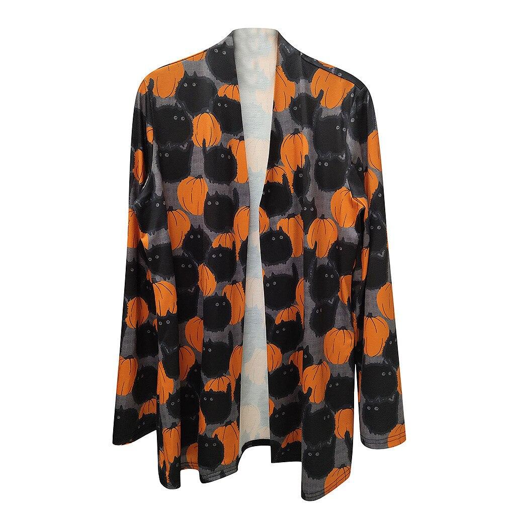 Fashion Cat Pumpkin Print Cardigan Blouse Autumn Winter Tops Female Women Long Sleeve Shirt Blusas Femininas Clothing Pullover