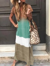 Summer Women Casual Plus Size Long Dress Vintage Patchwork Cotton Linen Gradient Color Beach