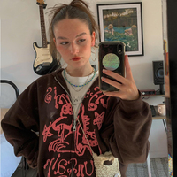 Sudadera Vintage Y2K para mujer, ropa con capucha oversize para mujer, chaqueta con cremallera de manga larga, Top Harajuku Grunge gótico