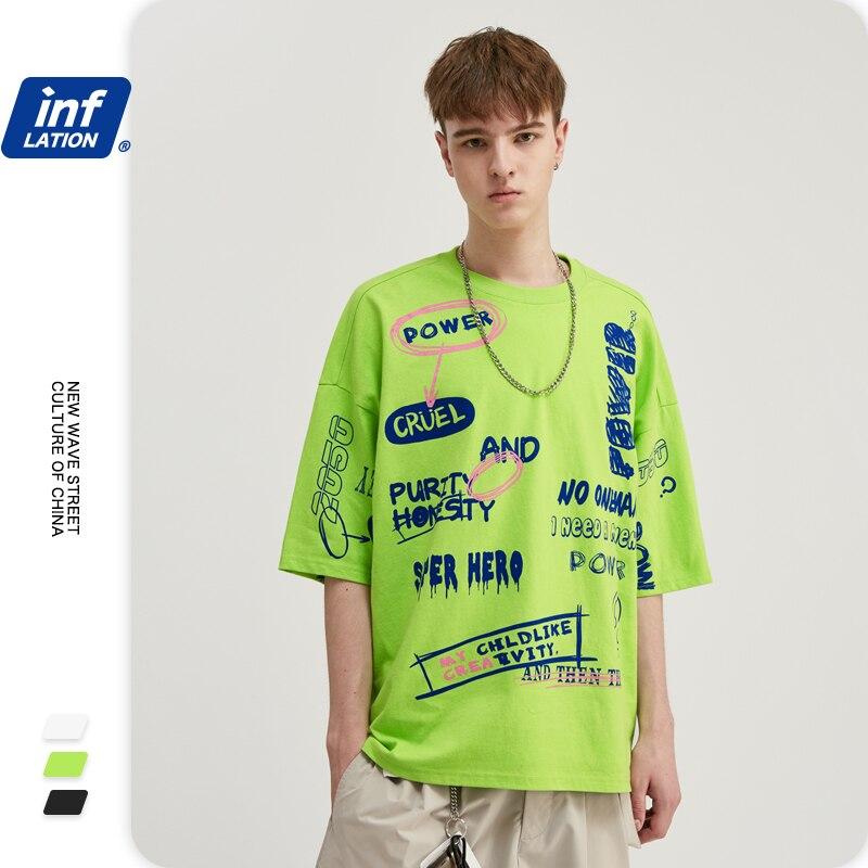 INFLATION Men Funny T Shirt With Graffiti Printing Streetwear Tshirt Men Oversized T-shirt Hip Hop Boy Tee Shirt Homme 1190S20